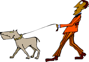 A cartoon of a man walking a dog on a leash.