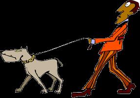 A cartoon of a man walking a dog on a leash.